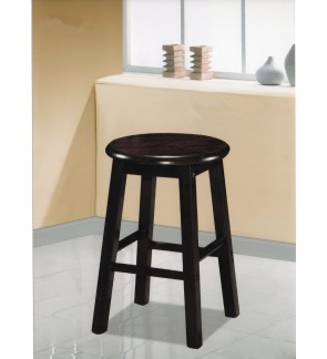 18 Inch Rounded Solid Wooden Cafe Stool Chair