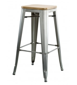 TOLIX Metal Bar Stool With Wooden Seat