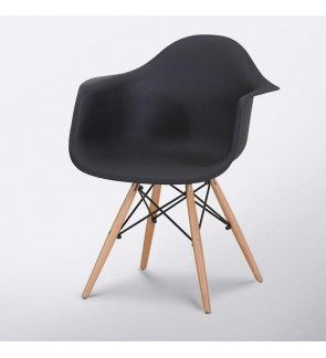 Eames Style Armchair with Natural Wood Legs