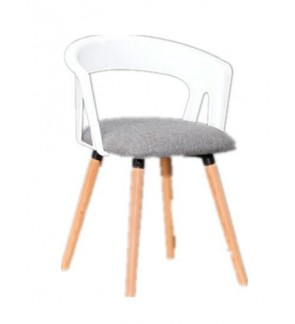 Fashion Dining Chair with armrests ,wood + Plastic Coffee Chair