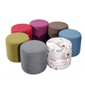 Modern Fabric Round Ottoman Stool / Sofa Footstool
