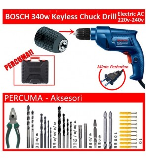 Bosch Keyless Chuck Electric Drill 220-240v Complete Tools Set