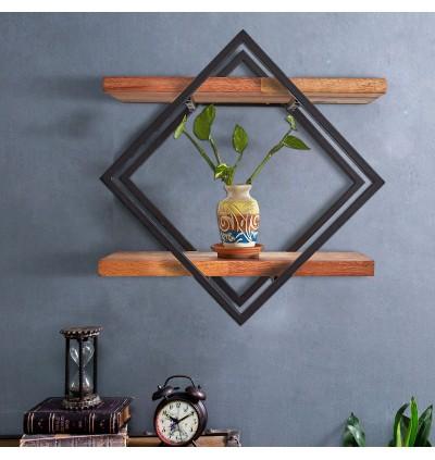 New Design Solid Wood Wall Mounted Shelf Holder Storage