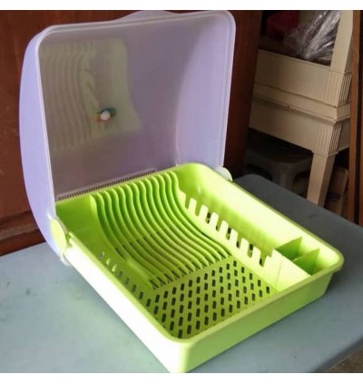Plastic Dish Rack Kitchen Cutlery Baskets Draining Rack with Dust Cover Storage Rack
