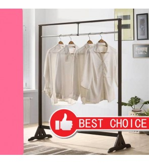 Solid Wood Frame Metal Clothes Hanger Rack