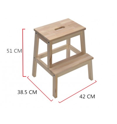 Full Solid Rubberwood 2 Step Stool Chair