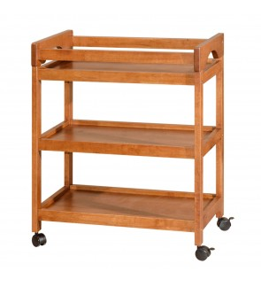 3 Tier Multi-Function Full Solid Rubberwood Moveable Dining Kitchen Trolley  / Cart