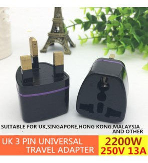 2200W UK 3 Pin Universal Travel Adapter 250V 13A / International Socket Adaptor