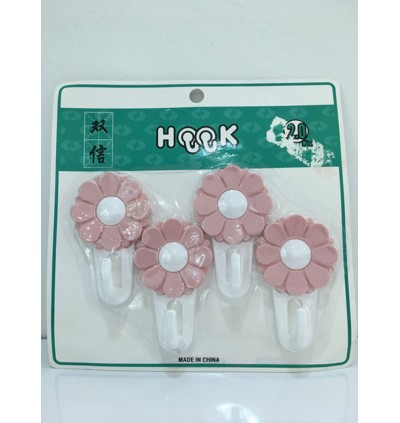 4pcs/set Hooks Flower Hanger Clothes Robe Key Holder Hat Hanger Wall Home Decoration Door Behind Clothing Sundries Hook ( Random Pick on Color )