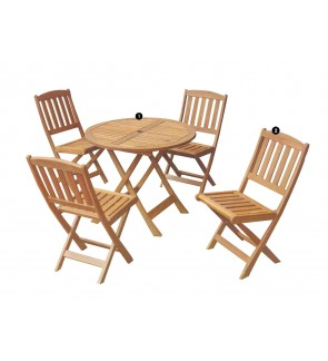 Wooden Outdoor Furniture Patio Garden Foldable Dining Table Chairs / Adjustable Space Saving Outdoor Cafe Set