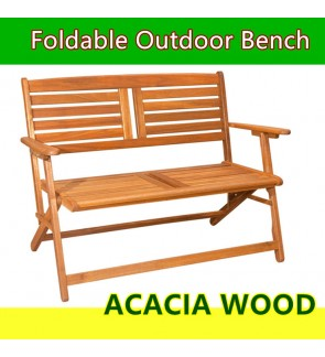 Solid Acacia Wood Foldable Patio Bench Chair/ Garden Furniture
