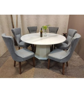 Upholstered Fabric Dining VIP Chairs with Solid Wood Legs