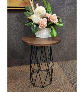 Modern Round End Table, Solid Top with Metal Base