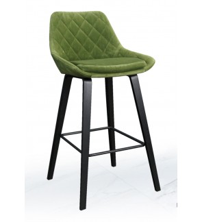 Premium Dining Green Fabric Cushion Bar Counter Chair / Stool