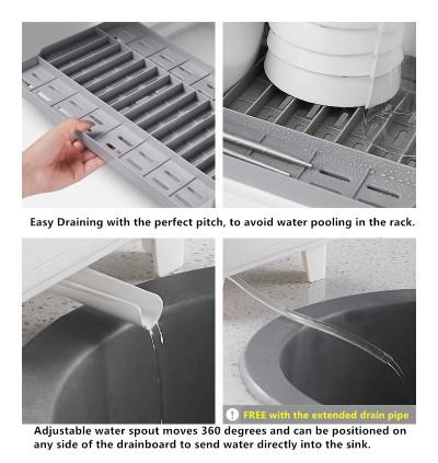 Dish Drying Rack with Cover / Dish Drainer / Dust-Free 2 Tier Dish Rack / Rak Penyimpan Pinggan