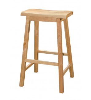 Set of 2 - Classic Solid Wood Saddle-Seat Kitchen Counter Bar Stool Chair - 29 inches