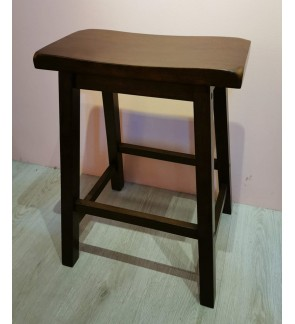 Set of 2 - Classic Solid Wood Saddle-Seat Kitchen Counter Bar Stool Chair - 24 inches