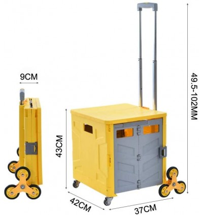 Foldable Pulling Utility Cart Climb Stair 4 Rotate Wheels for Shopping Luggage - 35L