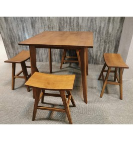 Rubberwood Square Dining Table and Chairs For Home & Cafe