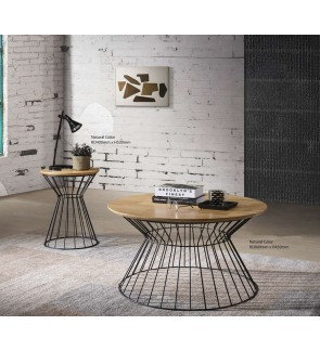 Modern Loft Style Round Solidwood Table Top Coffee Table With Black Metal Base