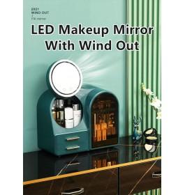 LED Lighted Vanity Makeup Mirror Cosmetic Organizer / LED Cermin Rak Kosmetik