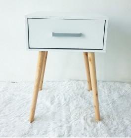 Side Table Cabinet Drawer / Bedside End Table / Kabinet Sampingan- White Natural