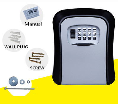 Wall Mounted Key Lock Box, House Key Storage Lock Box with 4 Digits Combination Outdoor Key Safe Lock Box for Outside, Sturdy Wall Mounted Password Box with Mounting Kit & Waterproof Cover