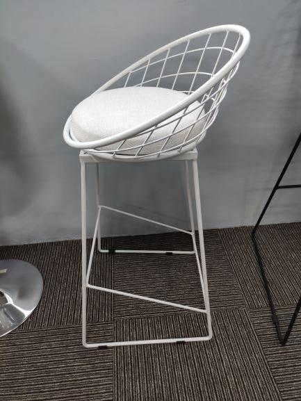 Bar Chair/ Counter High Stool Steel Hollow Frame with Fabric Seat