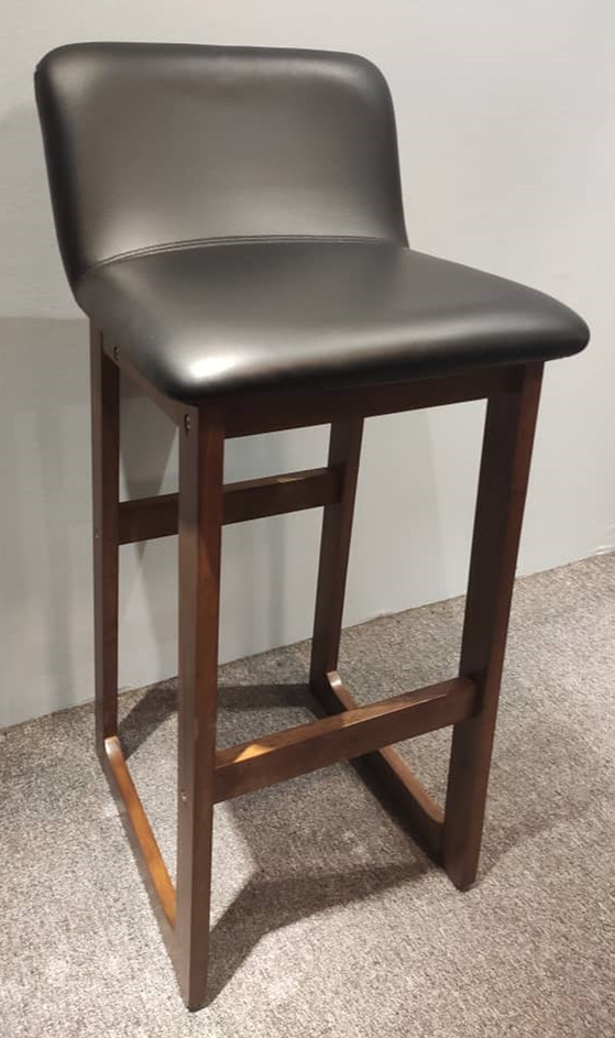 Set of 2 x Wooden Cafe Kitchen Bar Stool with PVC Cushion Low Back Rest - 29 inches