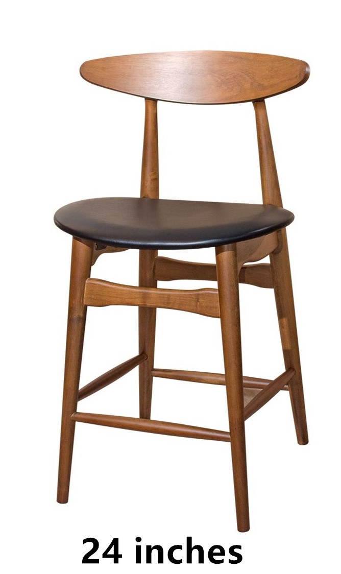 Set of 2 - Counter Pub Bar Height Chairs Upholstered Dining Chair Bar Stools, Solid Wood Leg, PVC Seat