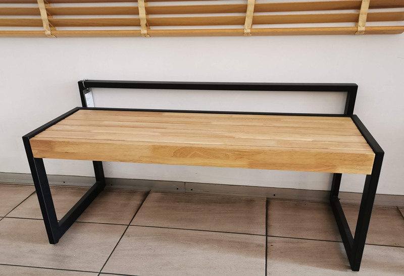 Wood Entryway Bench with Metal Legs, Modern Bench for Living Room, Indoor, Porch
