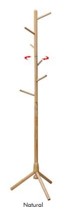 High-Grade Wooden Tree Coat Rack Stand with 6 Hooks / Coat Hanger