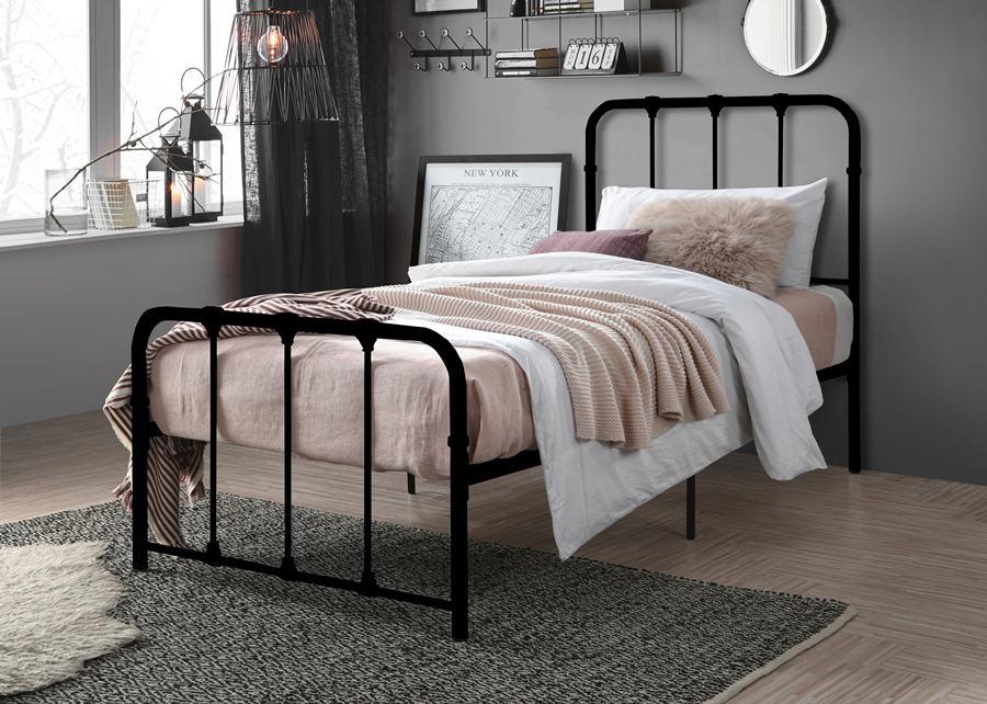 Vertical Slat Top Powder Coat Metal Super Base Bed Frame