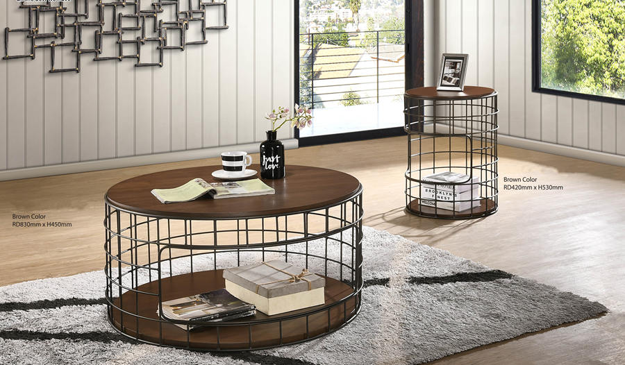 Modern Loft Style 2 Tier Solidwood Top with Powder Coated Base