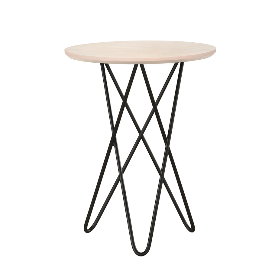 Home Round Wood Coffee Tables for Small Spaces, Nightstand Side Table Bedside Table with Metal Legs