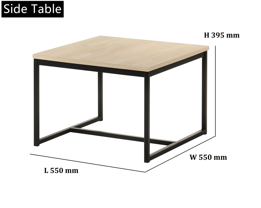 Modern Loft Style 3-Piece Solidwood Top with Metal Leg Table Set - Coffee Table and Two End Tables