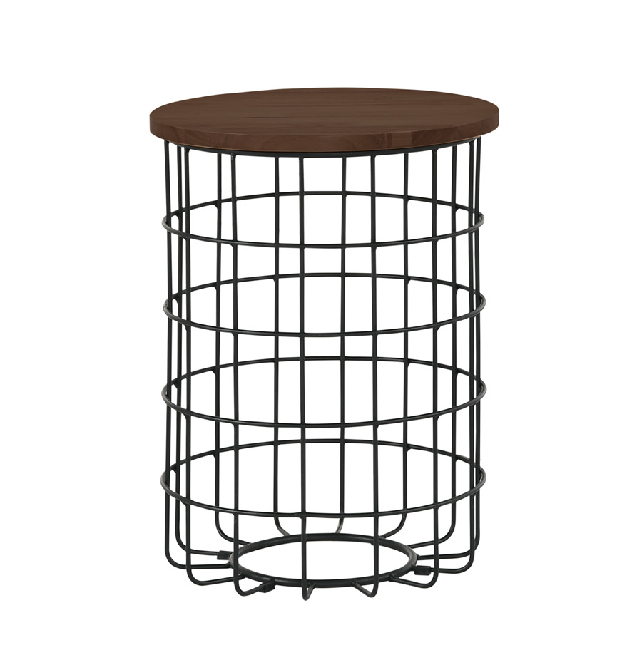 Home Round Cage Shape Solid Wood Top and Powder Coated Metal Base