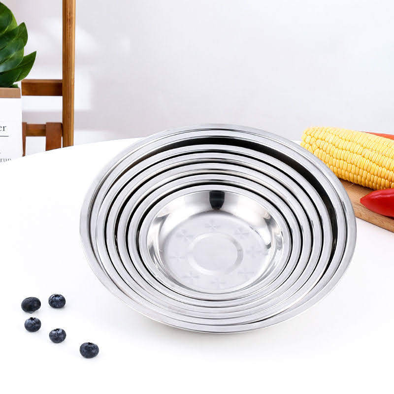 Stainless Steel Round Plate, Dinner Plate Dish ( 2 pcs )